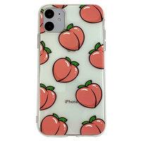 Perziken iPhone 11 TPU hoesje - Transparant Roze Flexibel