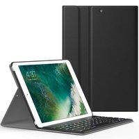 Just in Case Lederen Bluetooth Keyboard Cover iPad 9.7 inch 2017 2018 - Zwart QWERTY