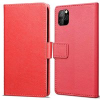 Just in Case Lederen Portemonnee Wallet iPhone 11 Pro Hoes - Rood Pasjes Briefgeld