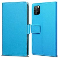 Just in Case Lederen Portemonnee Wallet iPhone 11 Pro Hoes - Blauw Pasjes Briefgeld