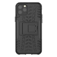 Just in Case Rugged Hybrid TPU Polycarbonaat Bandenprofiel iPhone 11 Pro Case Hoesje- Zwart Standaard