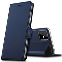 Just in Case Lederen Wallet Portemonnee iPhone 11 Pro Max Bookcase Case Hoesje - Blauw