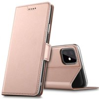 Just in Case Lederen Wallet Portemonnee iPhone 11 Bookcase Case Hoesje - Rosé Goud