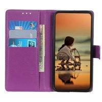 Wallet kunstleer hoesje voor iPhone 12 en iPhone 12 Pro - paars