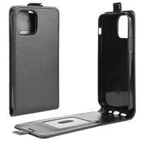 Flip case kunstleer hoesje voor iPhone 12 en iPhone 12 Pro - zwart