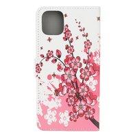 Wallet kunstleer bloemen hoesje voor iPhone 12 mini - wit