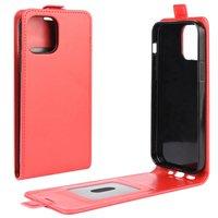 Flip case kunstleer hoesje voor iPhone 12 mini - rood
