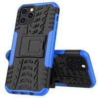 Shockproof schokabsorberend TPU hoesje voor iPhone 12 en iPhone 12 Pro - zwart met blauw
