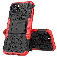 Shockproof kunststof en schokabsorberend TPU hoesje voor iPhone 12 en iPhone 12 Pro - zwart met rood