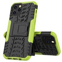 Shockproof schokabsorberend TPU hoesje voor iPhone 12 en iPhone 12 Pro - zwart met groen