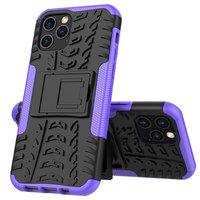 Shockproof schokabsorberend TPU hoesje voor iPhone 12 en iPhone 12 Pro - zwart met paars