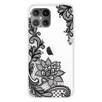 TPU henna bloemen hoesje voor iPhone 12 en iPhone 12 Pro - transparant