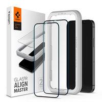 Spigen Glassprotector iPhone 12 mini 2 stuks - Zwarte Rand Bescherming