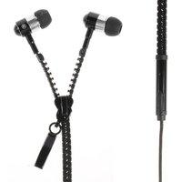Zwarte rits In-ear oortjes oordopjes microfoon knopje zipper
