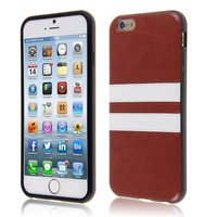 Leather Stripe Cover iPhone 6 6s - Bruin TPU hoesje witte strepen