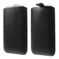 Zwarte inschuif hoesje Leder iPhone 6 6s 7 8 PLUS Lederen insteekhoesje
