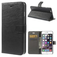 Lederen portemonnee en hardcase iPhone 6 Plus 6s Plus Zwarte wallet - Bookcase