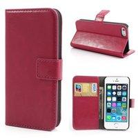 Roze lederen Bookcase hoesje portemonnee iPhone 5 5s SE Cover van leer Wallet