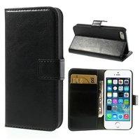Zwarte lederen Bookcase hoesje en portemonnee iPhone 5 5s SE Cover leer Wallet