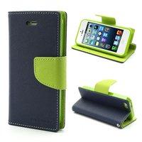 Original Mercury Goospery wallet Bookcase hoesje iPhone 5 5s SE 2016 Donkerblauw Groen portemonnee