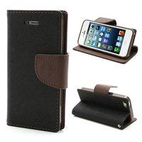 Wallet case Origineel Mercury Goospery Bookcase hoesje iPhone 5 5s SE 2016 Zwart Bruin portemonnee