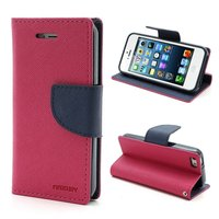 Wallet case roze Mercury Goospery Bookcase hoesje iPhone 5 5s SE 2016 Original Lederen - portemonnee