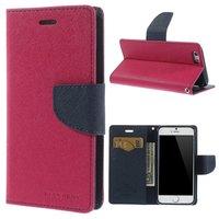 Wallet case roze Mercury Goospery Bookcase hoesje iPhone 6 6s Original Lederen - portemonnee