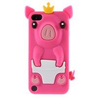 Roze varkentje iPod Touch 5 6 Silicone beschermhoesje met uitsteeksels 3D opdruk Piggy Queen