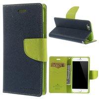 Origineel Mercury Goospery blauwe wallet Bookcase iPhone 6 6s Donkerblauw lederen - portemonnee