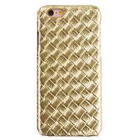 Luxe gouden hardcase iPhone 6 6s geweven 3D structuur Stevige cover