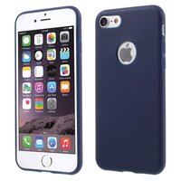 Effen blauw gekleurde silicone hoesje iPhone 7 8 Blauwe cover Blue case