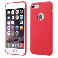 Effen rood gekleurde silicone hoesje iPhone 7 8 Rode cover Red case