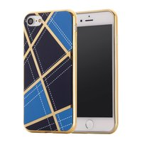 Chique silicone case iPhone 7 8 Gouden design lijnen Blauw