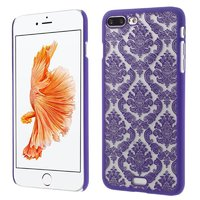 Paarse hardcase henna patroon iPhone 7 Plus 8 Plus transparant hoesje