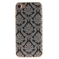Zwart henna hoesje Damask Flower iPhone 7 8 Silicone TPU case wit