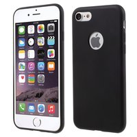 Effen zwart silicone hoesje iPhone 7 8 Black cover Mat