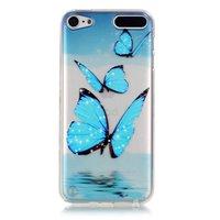 Doorzichtig beschermhoesje iPod Touch 5 en 6 Blauwe vlinders TPU case