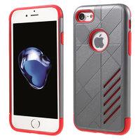 Rood grijs metallic hardcase TPU hoesje iPhone 7 8 rode zilver case