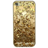 Doorzichtig TPU hoesje met bladgoud iPhone 5 5s en iPhone SE Golden case