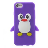 Stevig pinguin hoesje iPhone 7 8 Paars silicone cover 3D opdruk