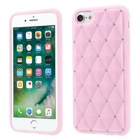 Roze silicone hoesje met steentjes iPhone 7 8 Glimmende diamanten
