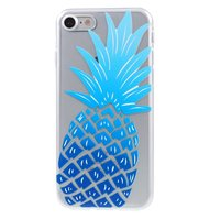 Blauwe ananas case TPU iPhone 7 8 Doorzichtig hoesje Blue