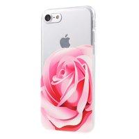 Roze roos TPU hoesje iPhone 7 8 doorzichtige case Bloem cover