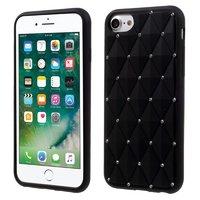 Zwart silicone hoesje met diamanten iPhone 7 8 Glimmende steentjes