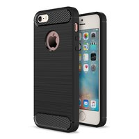 Zwart carbon TPU hoesje iPhone 5 5s SE Rugged Armor