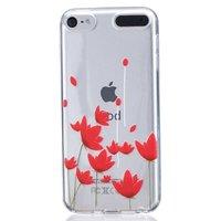Rode bloemen hoesje TPU doorzichtig cover iPod Touch 5 en 6