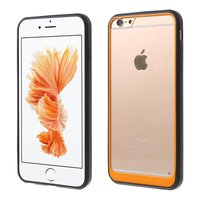 Hybrid Shockproof hoesje iPhone 6 6s Zwart Oranje Doorzichtig
