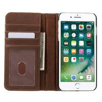 Retro lederen boek hoesje wallet bruin iPhone 7 Plus