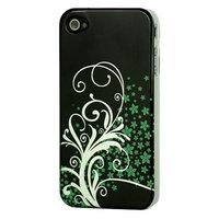 Bloemetjes groen zilver hoesje iPhone 4/4s Zwart