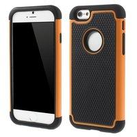 Shockproof hardcase hoesje iPhone 6 6s oranje robuust impact stevig zwart